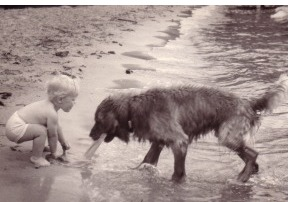 Kit on the beach, age 2